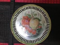 Álomszép áttört gyömölcsös régi porcelán fali tányér 21cm átmérő