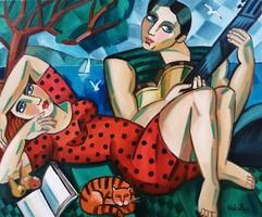 Csodálatos színekkel megfestett ART DECO Samuel Veksler festmény 54x65 cm