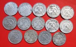 14 db Régi német alumínium 50 pfennig, 200, márka