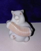 Herendi porcelán harmonikázó malacka