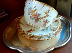 Sarreguemines Louis XV. nagy méretű fajansz teás kávés csésze aljjal 4 dl