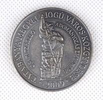 1E674 Ezüstözött tatabányai tűzoltó emlékérem díszdobozában