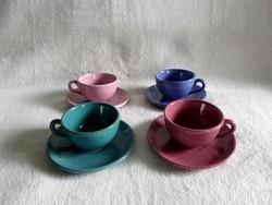 Régi színes 4 személyes kerámia mokkás, kávés