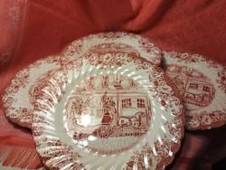 Angol jelenetes porcelán süteményes tányér, 4 db