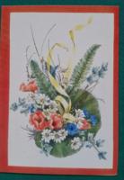 Virágos,kinyithatós,használt képeslap,levelezőlap