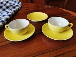 5 db-os antik Zsolnay sárga kávés csésze alátét tányérral együtt