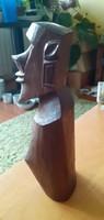 Különleges, afrikai témájú fa szobor - 23 cm magas
