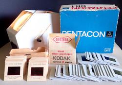 Régi retró elektromos, működő, Pentacon DB1 dianéző dianézegető dia nézegető néző + 59 db diakocka