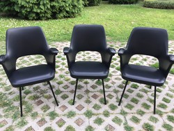 3 db Retro fekete műbőr szék