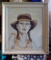 Álmodozó lány c. kép,ami félig dombormű. 47x41cm+a keret. Károlyfi Zsófia  Prima díjas alkotó műve.