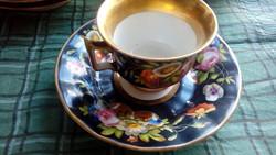 Régi virágmintás porcelán kávéscsésze aljjal, 4+4 db-os készlet