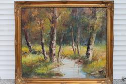 Tájkép patakpart fákkal olaj-vászon