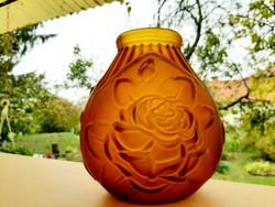 Lalique borostyán színű váza