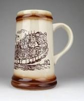 1E683 Jelzett erfurti kerámia söröskorsó 16 cm