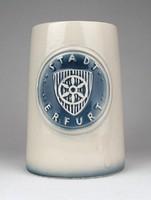 1E682 Jelzett erfurti kerámia söröskorsó 13.5 cm