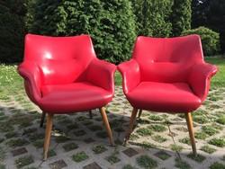 2 db Retro piros műbőr fotel