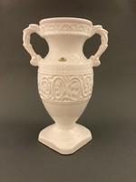 Ü Keramik Vintage stílusú gyönyörű, hibátlan, domborrmintás hófehér jelzett váza