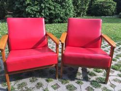 2 db Retro fotel piros műbőr huzattal