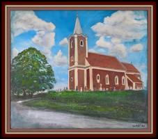 Templom Szentpéterfán 60x65 cm-es kép Károlyfi Zsófia Prima díjas alkotótól