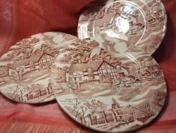 Antik, angol jelenetes porcelán süteményes tányér, 3 db