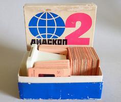 Régi retró szovjet dianéző dianézegető dia nézegető néző eredeti dobozában + 39 db diakocka diafilm
