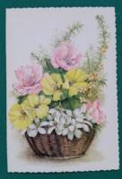 Virágos,kinyithatós levelezőlap,használt képeslap
