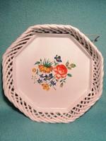 Gyönyörű Bodrogkeresztúri Kerámia virágmotívumos kínáló tál