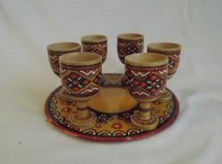 Retro esztergált kézi festésű talpas ital kínáló pohár készlet (14/d)
