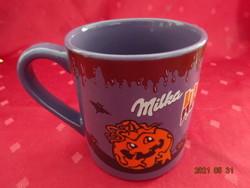 Német kerámia pohár, lila, Milka, hallowen, magassága 10 cm.