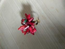 Vörös korall, ásvány női gyűrű művészi egyedi ékszer red corall gemstone art ring