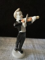 Hollóházi porcelán hegedűs fiú