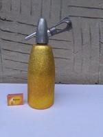 Retro szódásüveg, szifon - arany színű