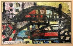 1961-s absztrakt akvarell,ism jelzéssel