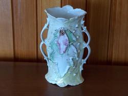 Nagyon régi érdekes fülkiképzésű színes porcelán váza