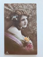 Régi képeslap 1914 női fotó levelezőlap