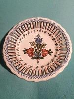 Gyönyörű Bodrogkeresztúri Kerámia kerek virágmotívumos kínáló tál