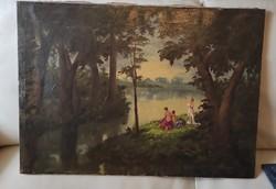 Gyönyörű antik festmény,tàjkép Ivànyi Grünwald Béla, tanítványa műhely munka,Zàhonyi Géza.