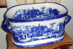 Antik angol porcelán kaspó kobaltkék Victoria Ware Ironstone