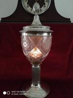 Ezüst, kristály kombinációs (Bachruch Antal 800-as) zsidó vallási kináló (ciborium)