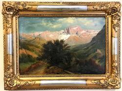 19.sz-i.Alpesi tájkép vándorral,várral,szép felújított korabeli biedermeier keretben