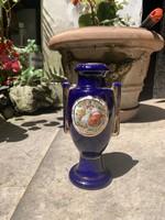 Gyönyörű kobaltkék aranyozott fülű Altwien váza
