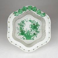 1E791 Indiai kosaras Herendi porcelán fonott kosárka