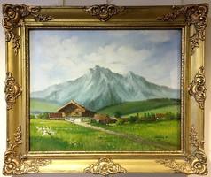 MESTERHÁZY DÉNES:Alpesi tájkép,olaj-vászon,kerettel 52 x 62 cm