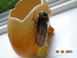 Louis Sicard szignójával CICADA/LA CIGALE (=Kabóca)  Provence-i kézzel festett majolika váza