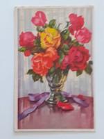 Régi képeslap 1941 rózsás csendélet levelezőlap