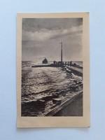 Régi képeslap 1955 Balaton kikötő levelezőlap
