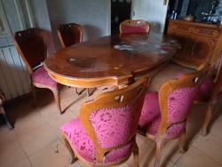 Cseresznye fából készült antik étkező garnitúra, a hozzá tartozó tálaló szekrénnyel.