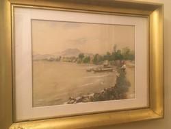 Csiky András ( 1894 - 1971 ) Balatoni akvarell festménye 1954- ből .