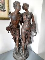 Émile Bruchon - retour de fête - fiút és lányt ábrázoló nagy szobor