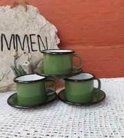 Zománcos retro zöld kávés szett csésze szett kávéscsészék kávéscsésze nosztalgia  Gyűjtemény